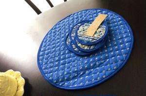 フランス・ランソレイヤード社 プロヴァンス雑貨 ポットマット&コースター6枚セット(ブルー)プロヴァンスプリント