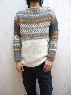 Hand-Woven Alpaca Men's Boat-Neck Sweater/Peru Knit (手紡ぎアルパカ メンズ ボートネックセーター/総天然色)