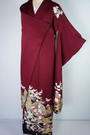 美品 やまと誂製 金泥 振袖 吉祥花柄 臙脂色 紅色 021