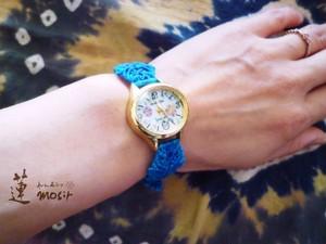 マクラメバンドの時計*ブルー【訳あり特価】