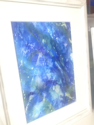 絵画 アクリル画(水彩画紙、アクリル絵の具) 青の神秘