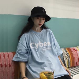 【トップス】アルファベット春夏レトロ韓国風カジュアルラウンドネック半袖Tシャツ