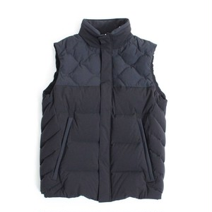 Mix Quilt Down Vest -Black