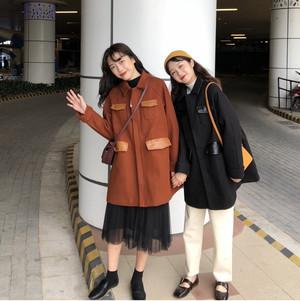 【アウター】人気ゆったり韓国風カジュアル折り襟ロングコート