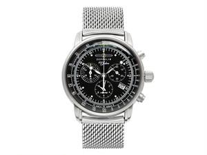 ツェッペリン ZEPPELIN 100周年 クオーツ メンズ クロノ 腕時計 7680M-2 ブラック ブラック