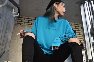 シルキードライ•オニギリロゴ•ロングTシャツ(ターコイズ)