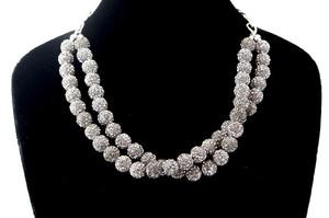 ラインストーンパヴェボールネックレス pve-neckblackdiamond51 ブラックダイヤモンド パヴェ キラキラ