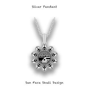 Silver Pendant / Sun Face Skull Design 001