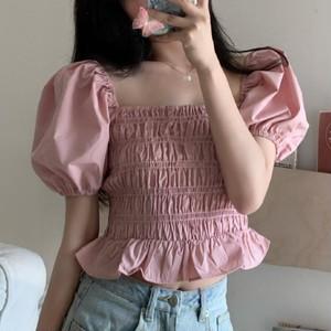 【トップス】スウィート気質よいフリルギャザーパフスリーブスクエアネックシャツ