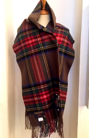 【TWEEDMILL】Lambswool Blanket Stole with Pin(Knee Rug) Tartan Tabacco Brown Stewert