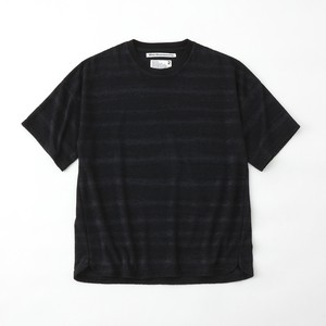 PILE JACQUARD BORDER T-SHIRT- BLACK