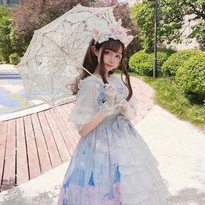 【ワンピース】レースリボンギャザー飾りlolitaスウィートプリントボールガウンワンピース
