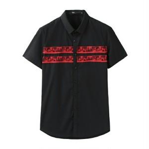 送料無料メンズ異素材ポイント赤メッシュ素材黒半袖シャツ