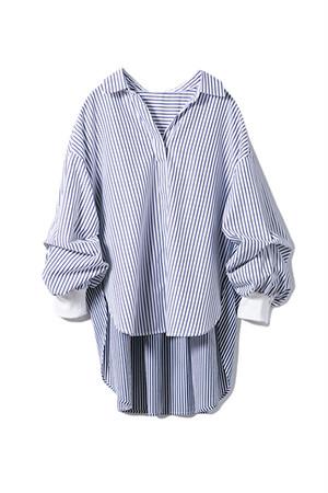 バックプリーツシャツ <ホワイト×ネイビー ストライプ>