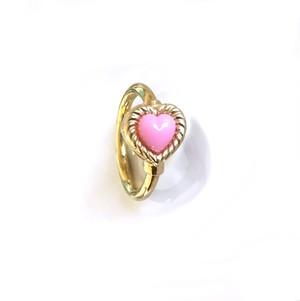 K18YG body jewelry #0003 VINTAGE HEART RING Pink  ヴィンテージハートリングボディピアス・ピンク/18金イエローゴールド