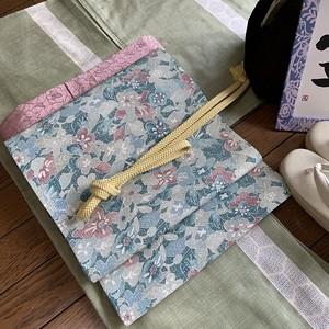 帯 遊結オリジナル開き名古屋 紬花柄・こでまり(両面)