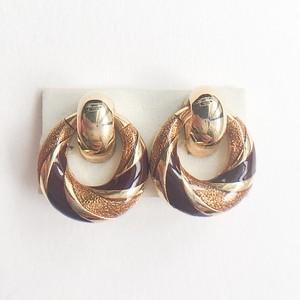 gold & brown circle earring[e-986]