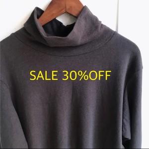 SALE30%OFF【HEAVENLY】コットンリネン タートルネック 長袖Tシャツ スミクロ【ヘブンリー】