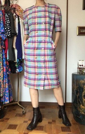 plaid mix color dress