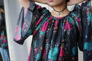 Vintage lame flower tops