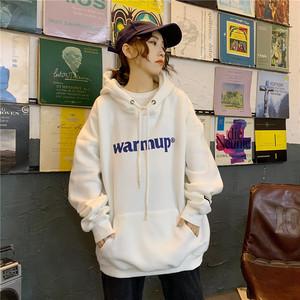 【トップス】韓国系長袖着痩せプラスベルベットフード付きアルファベットトップスパーカー24462524