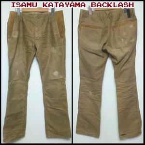 イサムカタヤマ バックラッシュISAMU KATAYAMA BACKLASH/コットン×スウェード/ブーツカット/パンツ/M/茶/定価40950/