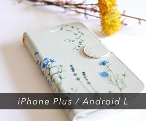 ブルーの花たちのスマホ / iPhoneケース手帳型〔大型モデル専用ページ〕