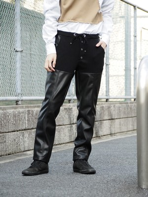 disemBySiiK Leather Switched Easy Pants black