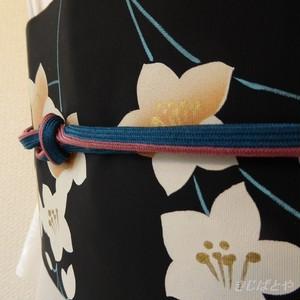 正絹 孔雀色と蘇芳の帯締め