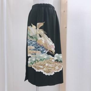 B51 留袖スカート ~  ビンテージ、黒、着物、刺繍、金、衣装 ~~