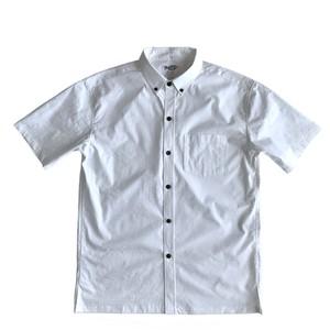 Mountain Men's ボタンダウン ホワイトアロハシャツ / TAPA  100%cotton