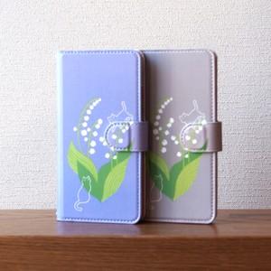 幸福の花・鈴蘭と猫の手帳型スマホケース #iPhoneXs/XR対応