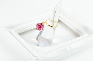 ラインストーンパヴェボール ピンキーリング ローズ(ピンク) pve-ringrose1 指輪 パヴェ