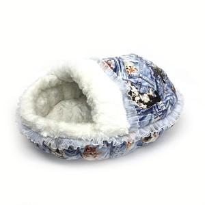 ふーじこちゃんママ手作り ドーム型ベッド フリル付き(コットンデニム風ねこ柄・ボアホワイト)Mサイズ