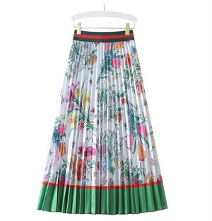グリーンフラワープリーツスカート