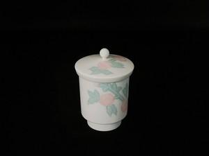【井上萬二作】白磁緑彩釉桜彫文蓋付湯呑(小)