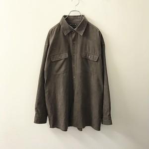 BRUNO フェイクスエードシャツ ダークブラウン size XL メンズ 古着