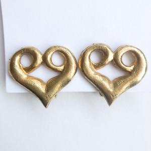 gold design heart earring[e-1310] ヴィンテージイヤリング