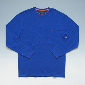POLO RalphLauren ポロ・ラルフローレン PONYワンポイント サーマル長袖Tシャツ ロンT ブルー/オレンジ