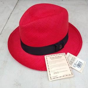 新品/エクアアンディーノEcua Andino×グレースハットgrace hat/ハンドメイド/パナマハット/ストローハット/赤/S/N0622MB0851/