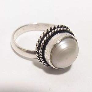 淡水真珠のフリーサイズリング  銀張りリング  セール通販 5616R