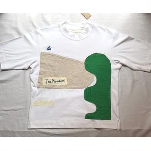 【ハンドメイドTシャツ】asanebou「Mountains」Tシャツ ホワイト フリーサイズ【作家作品】
