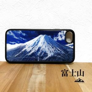 富士山 強化ガラス iphone Galaxy スマホケース アウトドア 登山 山 ブルー ネイビー