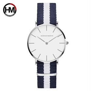 クラシックローズレッドダークブルーナイロンストラップジャパンクォーツムーブメントファッションカジュアル腕時計生地薄いキャンバス腕時計女性用CB36-Y5