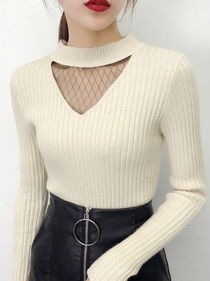 【tops】Half-high collar thick female slim body sweater