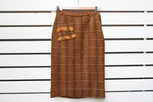 VINTAGE wool check skirt with Fringe pocket