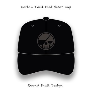 Cotton Twill Flat Visor Cap / Round Skull Design ( Black Embroidery )
