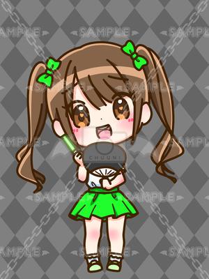 ちびキャラ_ドルヲタちゃんグリーン_XL