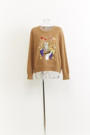 【セーター】金継猫刺繍入りセーター CAMEL