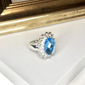Cut Crystal Ring ocean-blue / リング